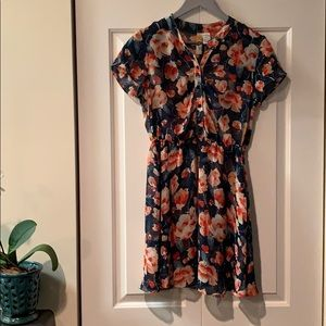 Mimi Chica Button Up Floral Sheer Dress Size S
